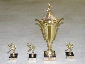Die Pokale für: besten Spieler, besten Torwart, beste Mannschaft und besten Torschützen (Foto: J.Mittag)